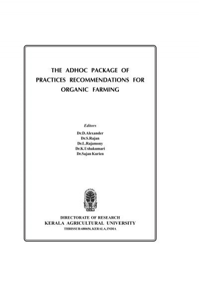 the adhoc package of practices recommendations for organic