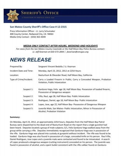 NEWS RELEASE - San Mateo County, Ca , Sheriff's Office
