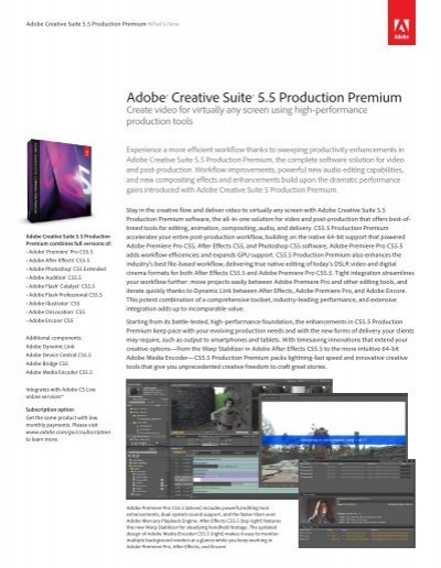 Adobe Creative Suite 5 5 Production Premium What S New