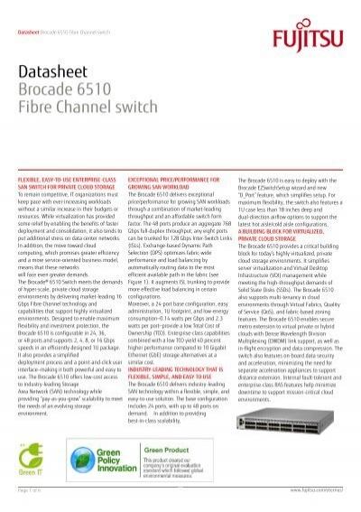 Datasheet: Brocade 6510 Fibre Channel switch - Anima BCI