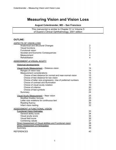 Measuring Vision and Vision Loss