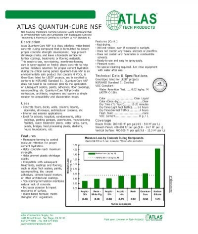 Atlas quantum cure nsf atlas construction supply inc for Conformed construction documents