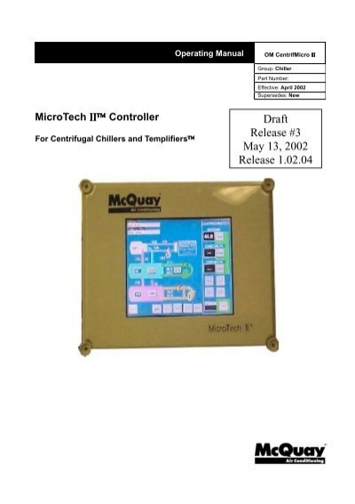 Control panel microtech ii c plus mcquay microtech ii for centrifugal chillers operating manual mcquay asfbconference2016 Choice Image