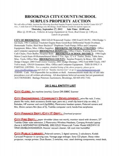 Brookings City County Surplus Property Auction City Of Brookings