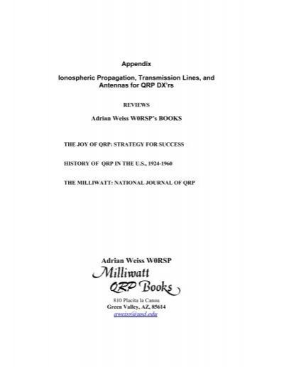 Adrian Weiss W0RSP - QRP, DX, Propagation, Antennas