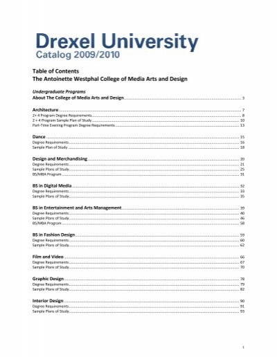 Table Of Contents The Antoinette Westphal Drexel University