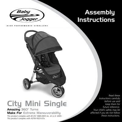 City Mini Single Assembly Instructions, Baby Jogger City Mini Car Seat Adapter Instructions