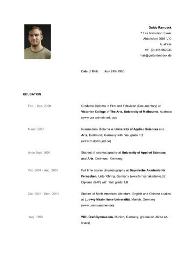 Curriculum Vitae Guido Rambeck