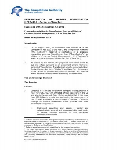 M-12-016 Cerberus - BancTec pdf - The Competition Authority