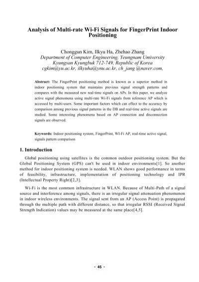 Analysis of Multi-rate Wi-Fi Signals for FingerPrint Indoor