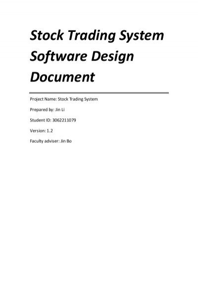 Stock Trading System Software Design Document Read