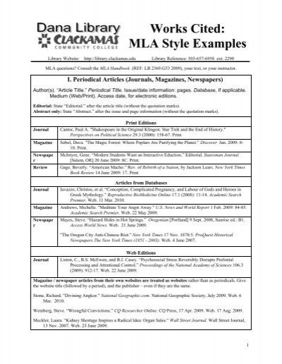 work cited examples
