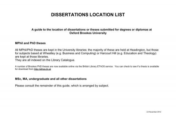 oxford dissertations