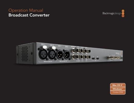 Operation Manual Broadcast Converter Genesis Matrix Video