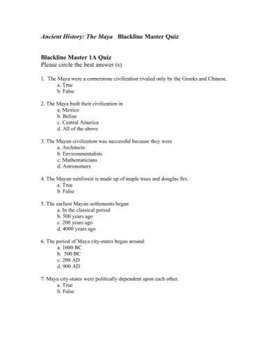 Ancient History: The Maya Blackline Master Quiz ... - photo#49