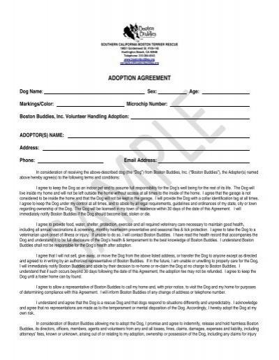 sample adoption agreement boston buddies