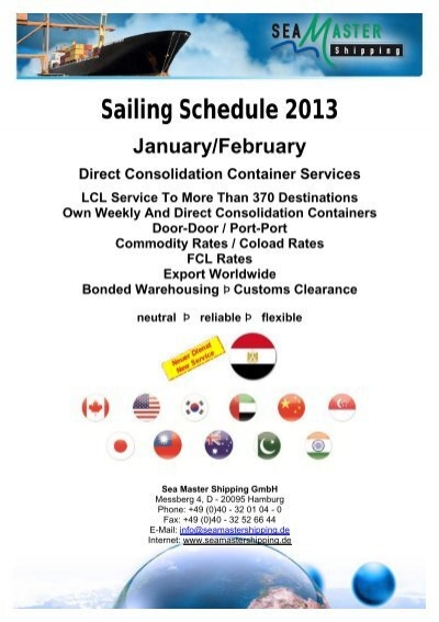 Sailing Schedule 2013 Sea Master Shipping Gmbh