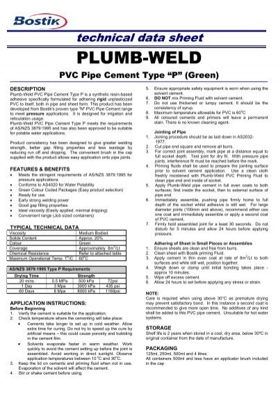 Bostik plumb-weld pvc pipe cement green type p msds