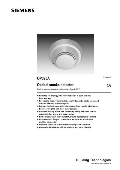 Op320a Optical Smoke Detector Siemens Building Technologies