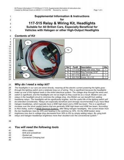 117-515 Relay & Wiring Kit, Headlights - Moss Motors on