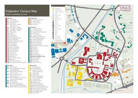 Edgbaston Campus Map Edgbaston Campus Map (PDF   2MB)   University of Birmingham