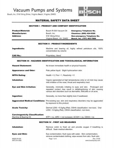 Vacuum Blower Data Sheet : Busch r oil msds material safety data sheet ideal