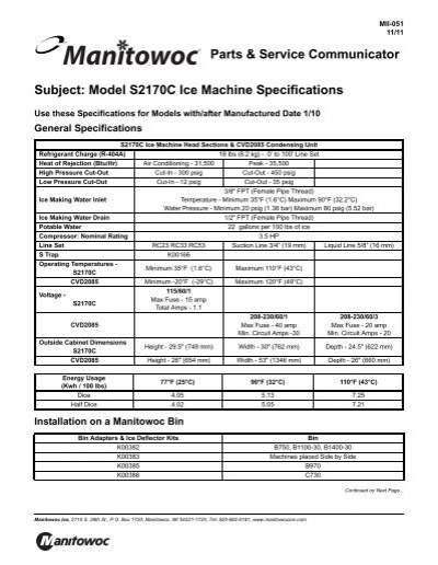 Subject Model S2170c Ice Machine Specifications Manual Guide