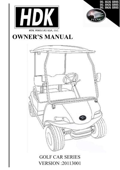 owner s manual golf cart series hdk electric vehicles rh yumpu com yamaha golf cart service manual yamaha golf cart service manual