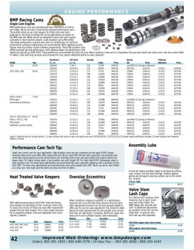 ENGINE PERFORMANCE BMP Racing Cams     - BMP Design