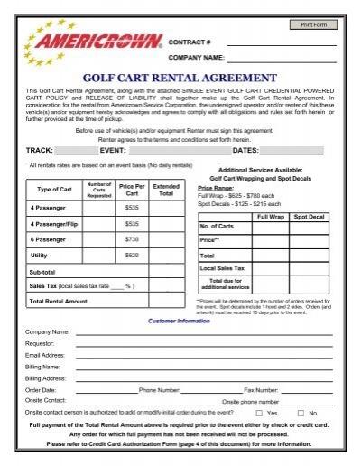 Golf Cart Rental Agreement