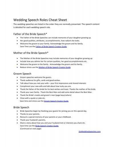 Wedding Speech Roles Cheat Sheet