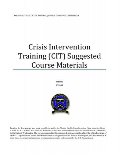 crisis intervention training  cit  suggested course
