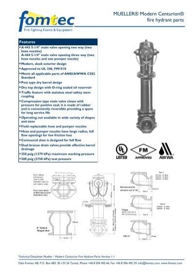 Mueller Modern Centurion Fire Hydrant Parts Dafo Fomtec Ab