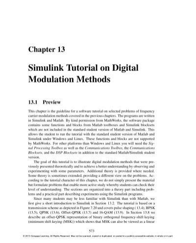Simulink Tutorial on Digital Modulation Methods - Cengage Learning