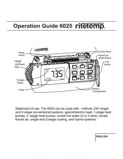 [QMVU_8575]  Operation Guide 6025 - The RiteTemp Support Site | Rite Temp Thermostat Wiring Diagram 7 Wire |  | Yumpu