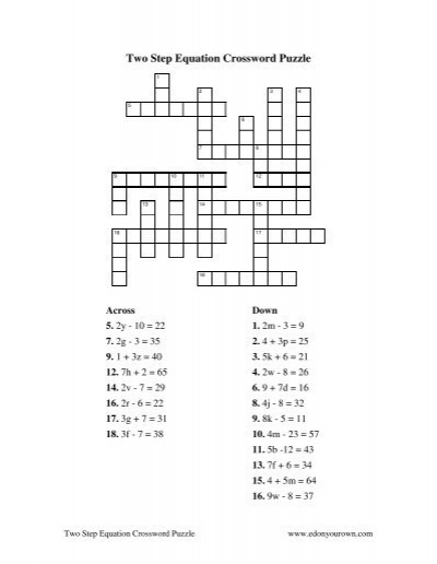 Two Step Equation Crossword Puzzle Solution