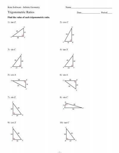 Worksheets Trigonometric Ratios Worksheet 9 trigonometric ratios kuta software