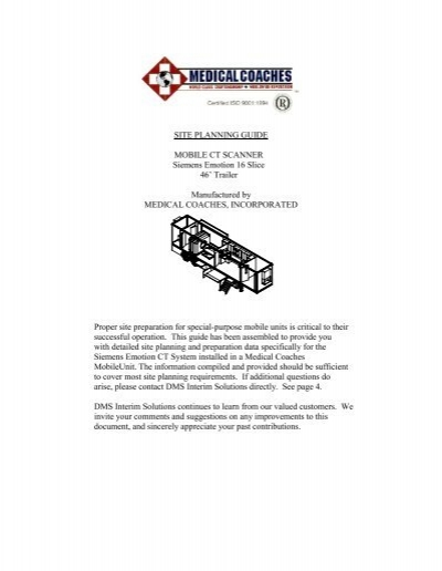 SITE PLANNING GUIDE MOBILE CT SCANNER Siemens Emotion – Siemens Site Planning