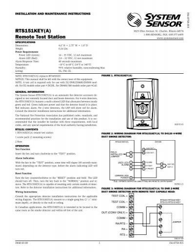 RTS151KEY(A) Remote Test Station - System SensorYumpu