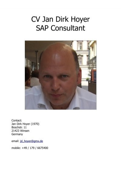 cv jan dirk hoyer sap consultant