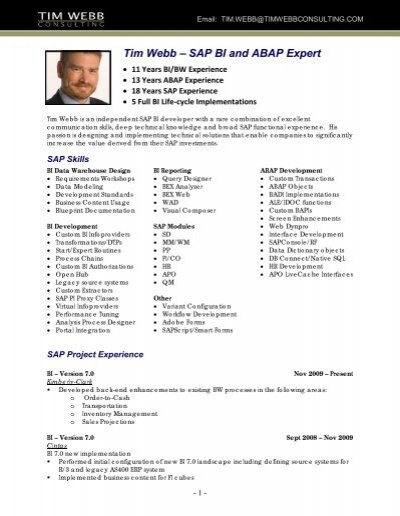 sap bi consultant tim webb resume tim webb consulting