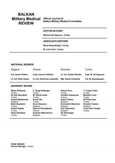 Balkan Military Medical Review (filum terminale merkezi sağda etiketlenmiş.) balkan military medical review