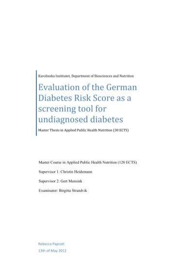 Evaluation of the German Diabetes Risk Score as a