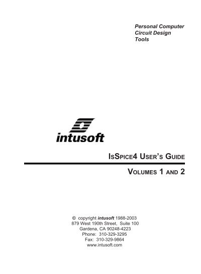 ISSPICE4 USER\'S GUIDE Personal Computer Circuit Design Tools ...