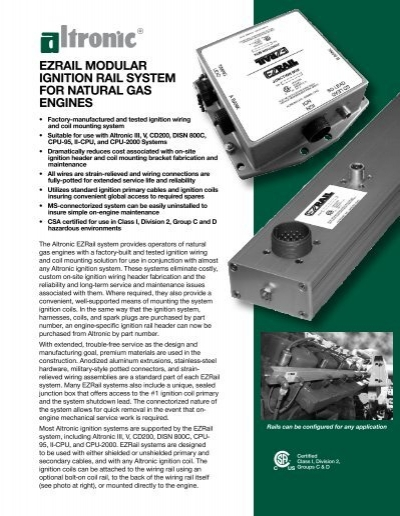 Ezrail Modular Ignition Rail System For Natural Gas Engines