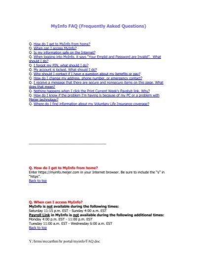 meijer myinfo MyInfo FAQ (Frequently Asked Questions) - MyInfo - Meijer