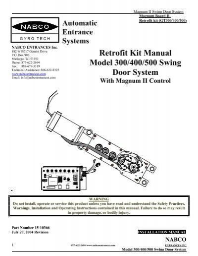 retrofit kit manual model 300 400 500 swing door system rh yumpu com nabco gyro tech 710 installation manual North American Benefits Company