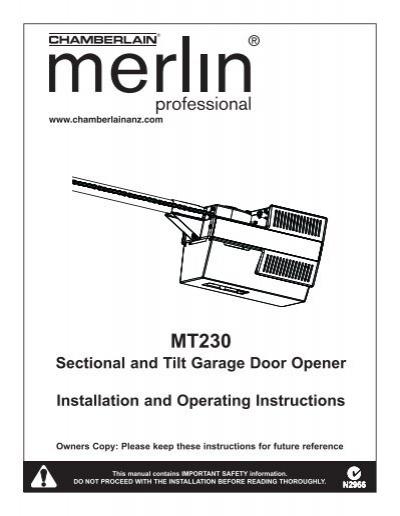 Sectional And Tilt Garage Door Opener Installation And Merlin
