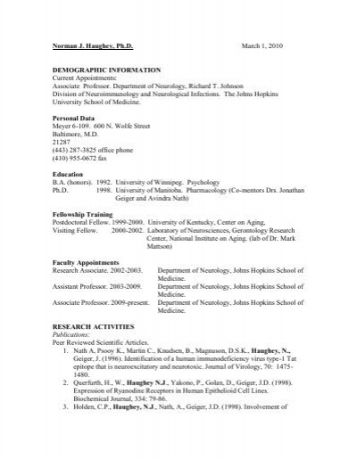 Dr  Norman Haughey Curriculum Vitae - Johns Hopkins Medical