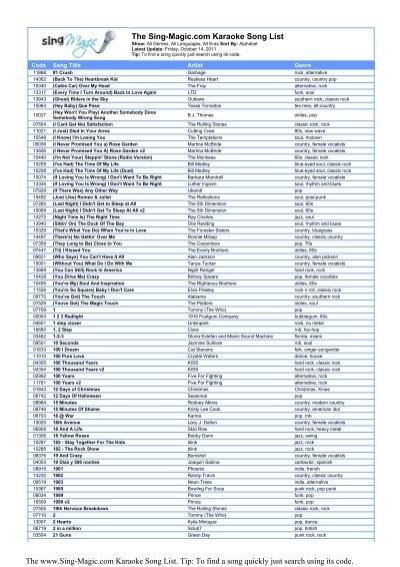 The Sing-Magic com Karaoke Song List - Sing-Magic Free Karaoke